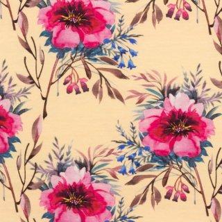 Jersey Aquarell Blume hellgelb