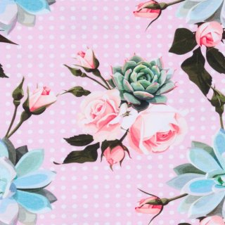 Jersey Digital Printing Rose With Dots Light Pink