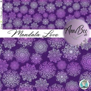Bio Jersey Mandala Love, Mandala Blumen allover lila