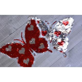 Wendepailletten Patch Schmetterling rot